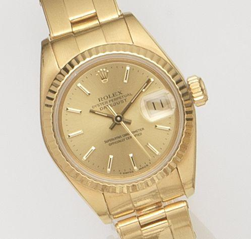 Rolex. A lady's 18ct gold automatic calendar bracelet watch Datejust, Ref:69178, Case No.8074***, Movement No.097***, Recent