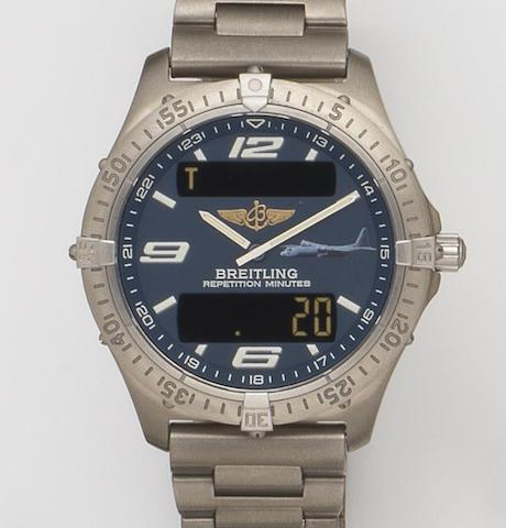 Breitling. A titanium quartz military minute repeating chronograph bracelet watch with digital displayAerospace, Ref:E65362, Serial No.187835, Sold 18th December 2000