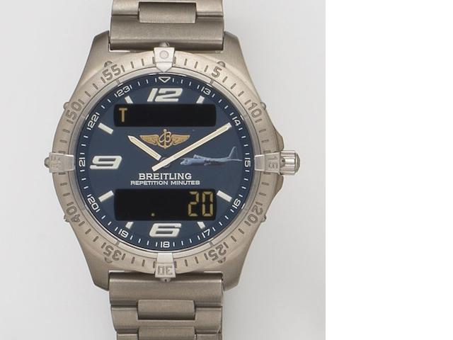 Breitling. A titanium quartz military minute repeating chronograph bracelet watch with digital display Aerospace, Ref:E65362, Serial No.187835, Sold 18th December 2000 Breitling