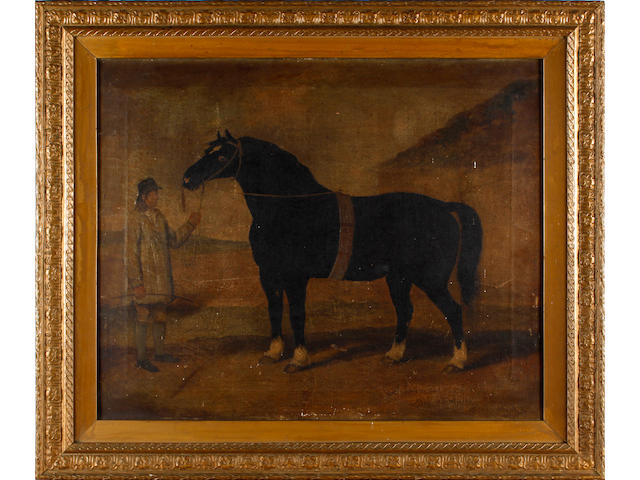 English Naive School, 19th Century A black horse with attendant groom
