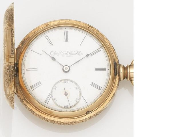 Elgin. A 14ct gold keyless wind full hunter pocket watch with chain and fob seal Movement No.6137465, Circa 1910