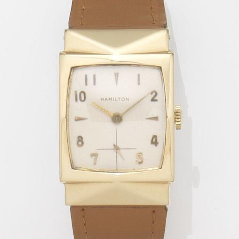 Hamilton. A 14ct gold manual wind wristwatchCase No.V04888, Circa 1960