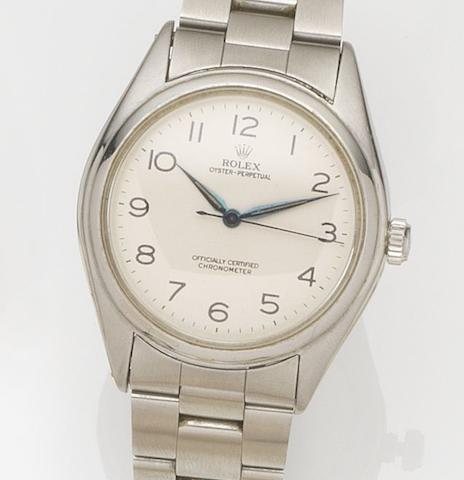 Rolex. A stainless steel automatic bracelet watch Oyster Perpetual, Ref:5028, Case No.412***, Movement No.56***, Circa 1946
