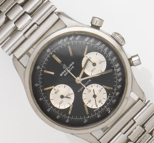 Breitling. A stainless steel manual wind chronograph wristwatchTop Time, Ref:810, Circa 1964