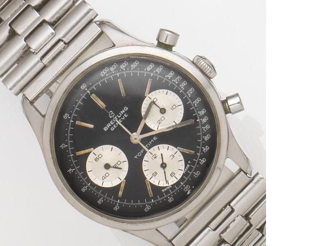 Breitling. A stainless steel manual wind chronograph wristwatch Top Time, Ref:810, Circa 1964