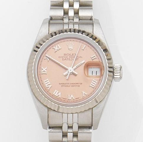 Rolex. A lady's stainless steel automatic calendar bracelet watch with box and papersDatejust, Ref:69174, Case No.N522***, Movement No.2083***, Sold 5th January 1993
