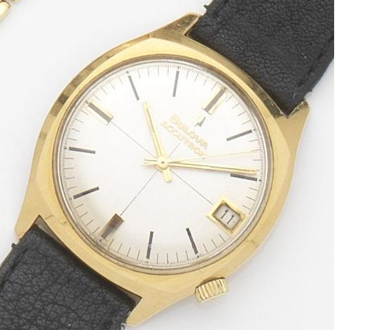 Bulova. An 18ct gold electronic calendar wristwatch Accutron, Ref:218D, Case No.D 29759, 1967