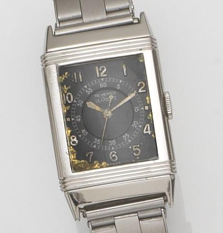 LeCoultre. A stainless steel manual wind centre seconds reversible wristwatch Reverso, Case No.18131, Movement No.56856, 1940's