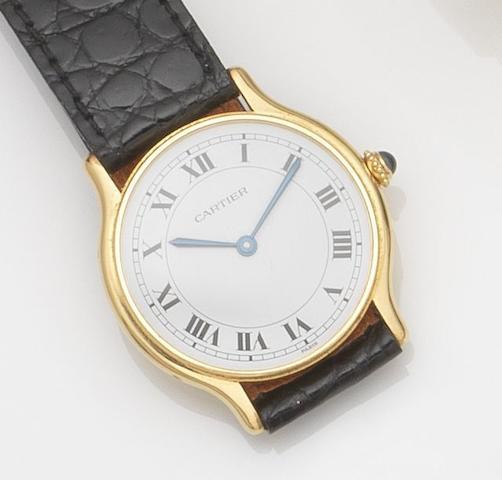 Cartier. An 18ct gold manual wind wristwatchCase No.107130322, Circa 1990