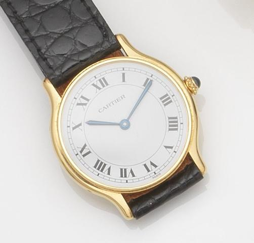 Cartier. An 18ct gold manual wind wristwatch Case No.107130322, Circa 1990