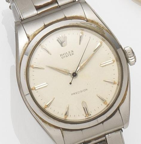 Rolex. A stainless steel manual wind bracelet watch Precision, Ref:6422, Case No.332***, Movement No.N22***, Sold 21st August 1963