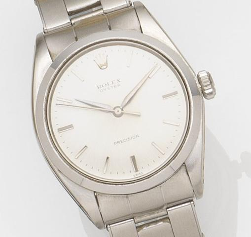 Rolex. A stainless steel manual wind centre seconds bracelet watchOyster Precision, Ref:6426, Case No.887***, Movement No.82***, Circa 1962