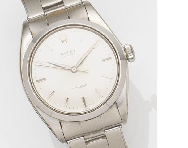 Rolex. A stainless steel manual wind centre seconds bracelet watch Oyster Precision, Ref:6426, Case No.887***, Movement No.82***, Circa 1962