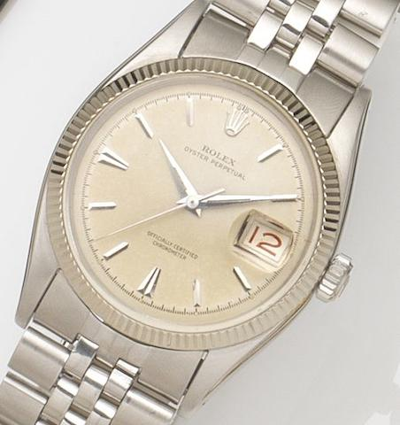 Rolex. A stainless steel automatic calendar bracelet watch Datejust, Ref:6606, Serial No.353***, Circa 1960