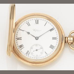 Waltham. A 9ct gold keyless wind full hunter pocket watch together with 9ct gold Albert chain and medal Case No.499556, Movement No.27132108, Birmingham Hallmark for 1930