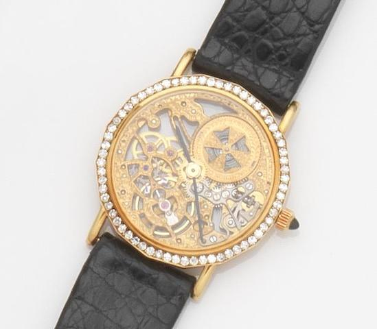 Vacheron Constantin. A lady's 18ct gold and diamond set manual wind skeletonised wristwatchCase No.574143, Movement No.739734, Recent