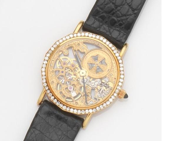 Vacheron Constantin. A lady's 18ct gold and diamond set manual wind skeletonised wristwatch Case No.574143, Movement No.739734, Recent