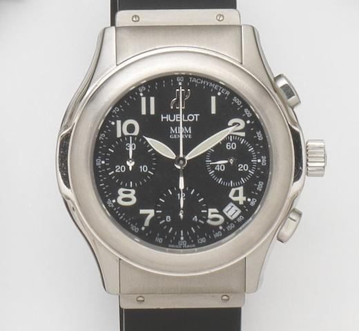 Hublot. A stainless steel automatic calendar chronograph wristwatch Ref:1810.1, Case No.296649, Circa 2000