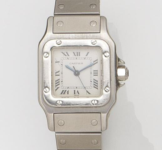Cartier. A lady's stainless steel automatic bracelet watchSantos, Circa 1990