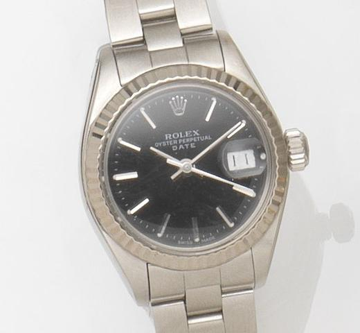 Rolex. A lady's stainless steel automatic calendar bracelet watch Date, Ref:6916, Case No.5186***, Movement No.29***, Circa 1977