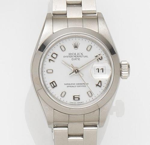 Rolex. A lady's stainless steel automatic bracelet watch with box and papersDate, Ref:79160, Case No.F666***, Movement No.1597***, Sold 12th September 2005