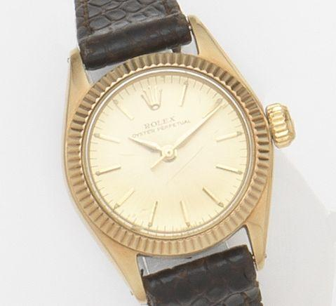 Rolex. A lady's 14ct gold automatic centre seconds wristwatchOyster Perpetual, Ref:6619, Case No.790***, Movement No.273**, Circa 1961