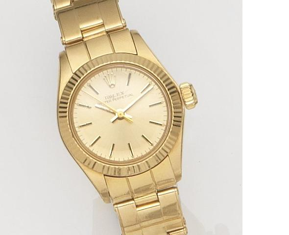 Rolex. A lady's 18ct gold centre seconds bracelet watch Oyster Perpetual, Ref:6719, Case No.3721***, Circa 1963