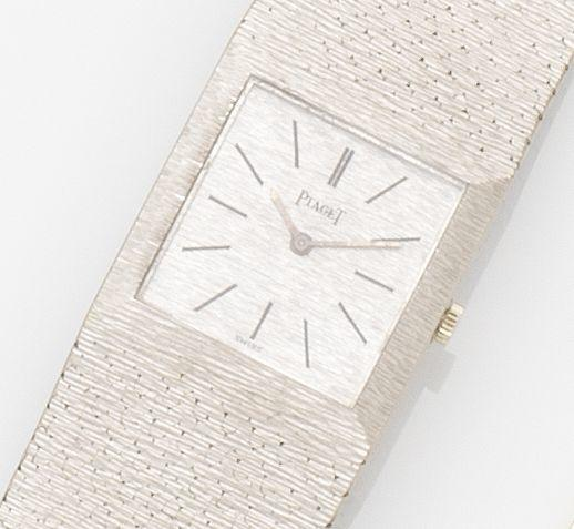 Piaget. An 18ct white gold manual wind bracelet watch Ref:908B6, Case No.239165, Movement No.7318893, Circa 1970