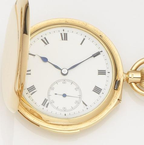 Goldsmiths & Silversmiths Co. Ltd. An 18ct gold full hunter keyless wind minute repeating pocket watch Case and Movement No.13591, London Hallmark for 1922