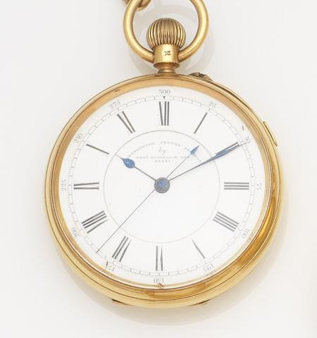 Thomas Russell & Son. An 18ct gold open face keyless wind pocket watch together with a 15ct gold Albert chainCase and Movement No.91631, Chester Hallmark for 1896