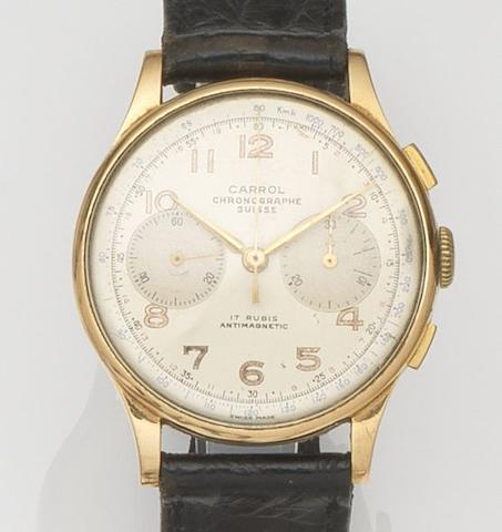 Carrol Chronographe Suisse. An 18ct gold manual wind chronograph wristwatch Case No.252, Circa 1950