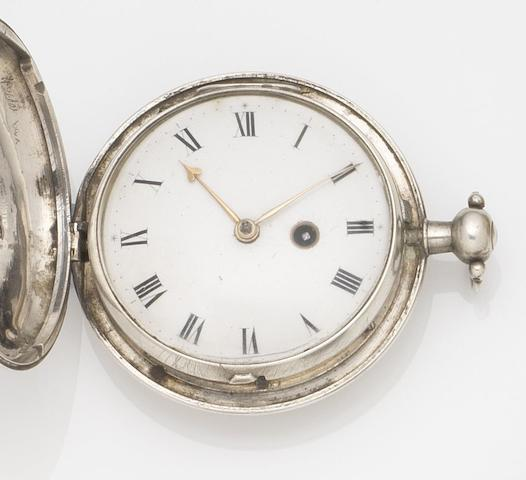 Johnathon Holmes. A silver key wind full hunter pocket watch Movement No.7149, London Hallmark for 1789
