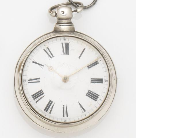 Robert Burns. A silver pair case key wind pocket watch Movement No.4518, Birmingham Hallmark for 1818
