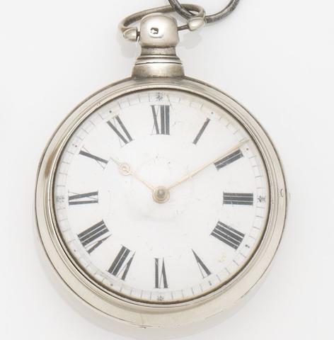 Robert Burns. A silver pair case key wind pocket watch Movement No.4518, Birmingham Hallmark for 1818