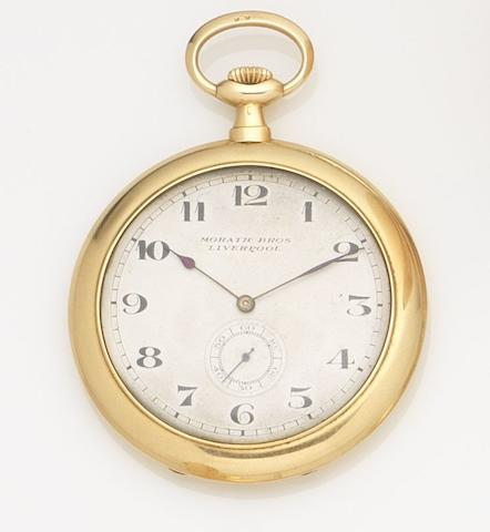 Morath Bros. An 18ct gold keyless wind open face pocket watchCase No.605457, Circa 1910