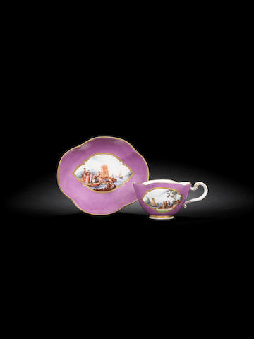 A Meissen purple-ground cup and saucer, 19th century