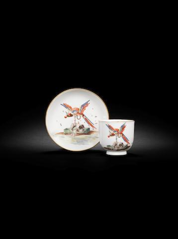 A rare Meissen cup and saucer, circa 1740
