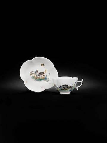 A Meissen quatrelobe teacup and saucer, circa 1740
