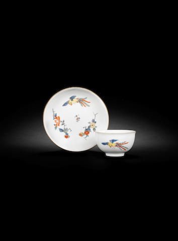 A Meissen teabowl and saucer circa 1740