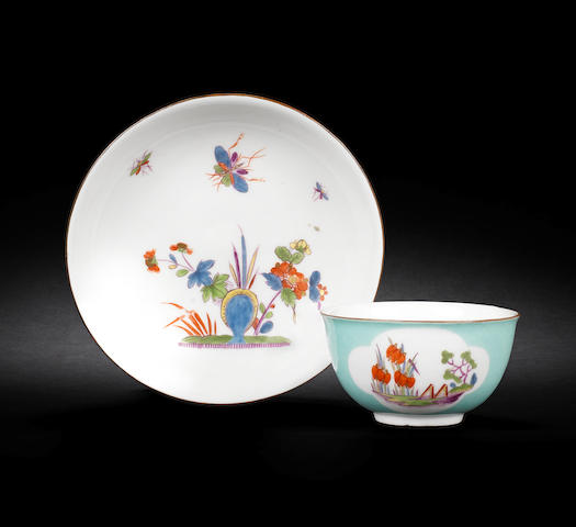 A Meissen turquoise-ground teabowl and saucer, circa 1740