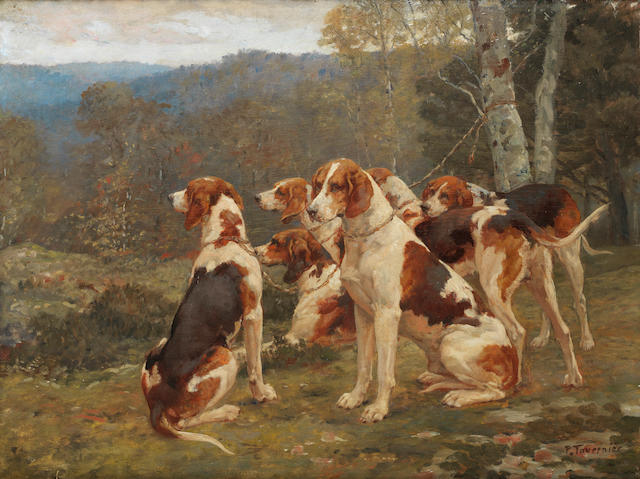 Paul Tavernier (French, born 1852) Foxhounds resting 18 x 23 3/4 in. (46 x 60.5 cm.)