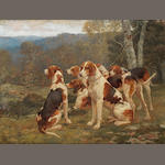 Paul Tavernier- resting Fox hounds in a landscape - oil on board