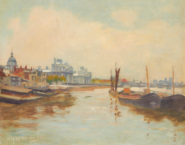 Harry Spence (British, 1860-1928) Thames barges at Greenwich