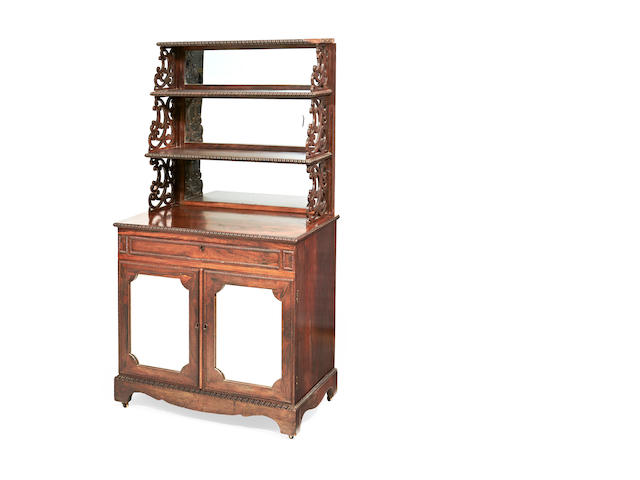 A Dutch second quarter 19th century rosewood waterfall display cabinet