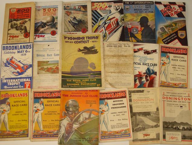 A collection of Brooklands pre-War race programmes,