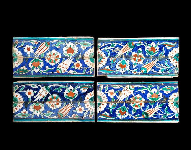 4 Iznik  border tiles late XVI century