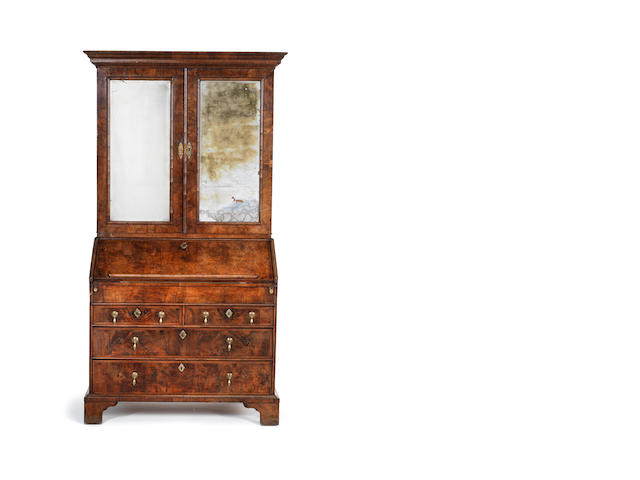 George I walnut bureau cabinet