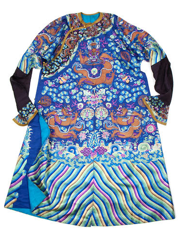 A blue-ground, silk 'dragon robe'