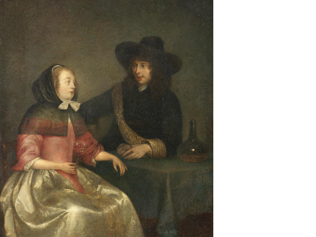 Circle of Gerard Ter Borch II (Zwolle 1617-1681 Deventer) A couple drinking wine