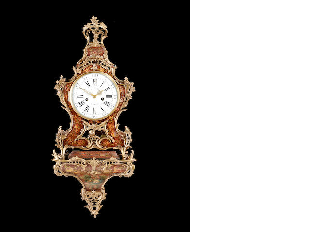 A Louis XV Vernis Martin and gilt metal mounted clock and original wall bracket Viger, Paris, No.870